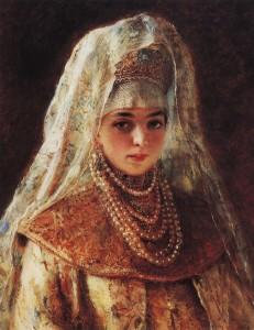 Боярышня. К.Е. Маковский. Так могла бы выглядеть Соломония-невеста.
