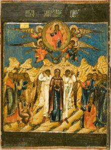 Икона Вознесения Господня, которая будет в виде баннера на горнем месте храма Вознесения. Сама икона хранится в запасниках МГОМЗ Коломенское